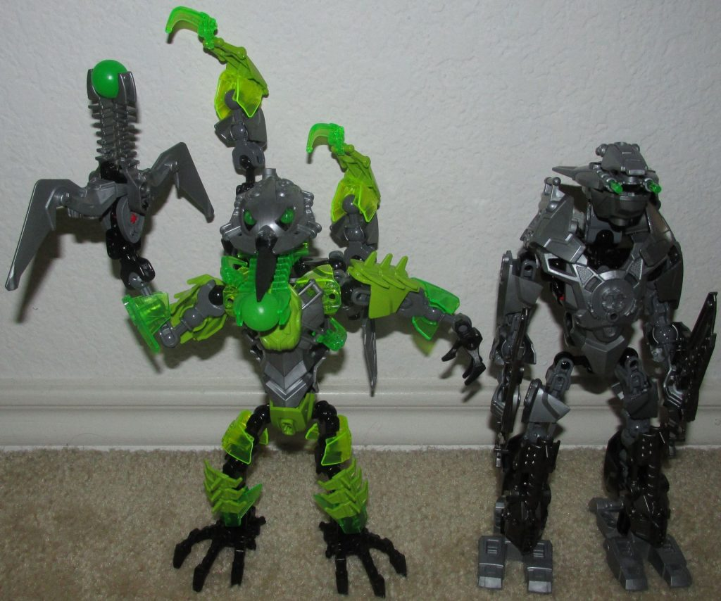 Two action figures built with LEGO pieces.