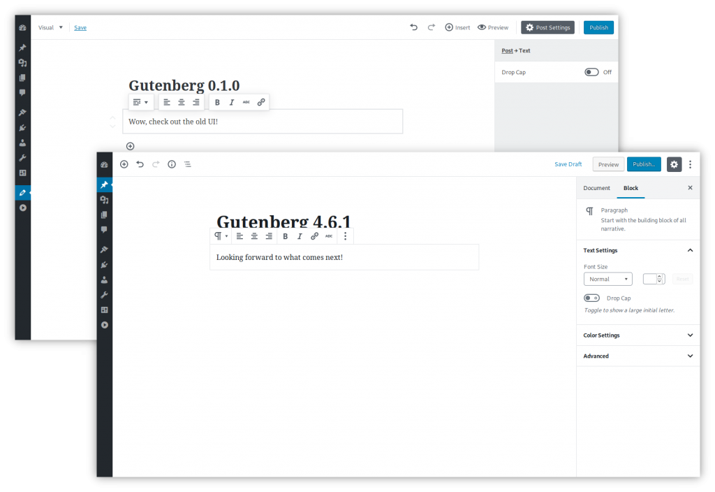 Images of Gutenberg 0.1.0 and 4.6.1