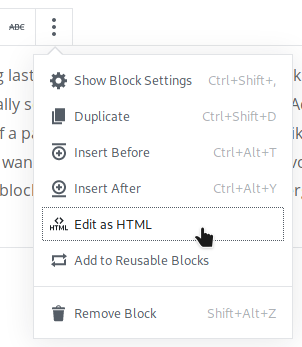 Image of Edit as HTML option in Gutenberg