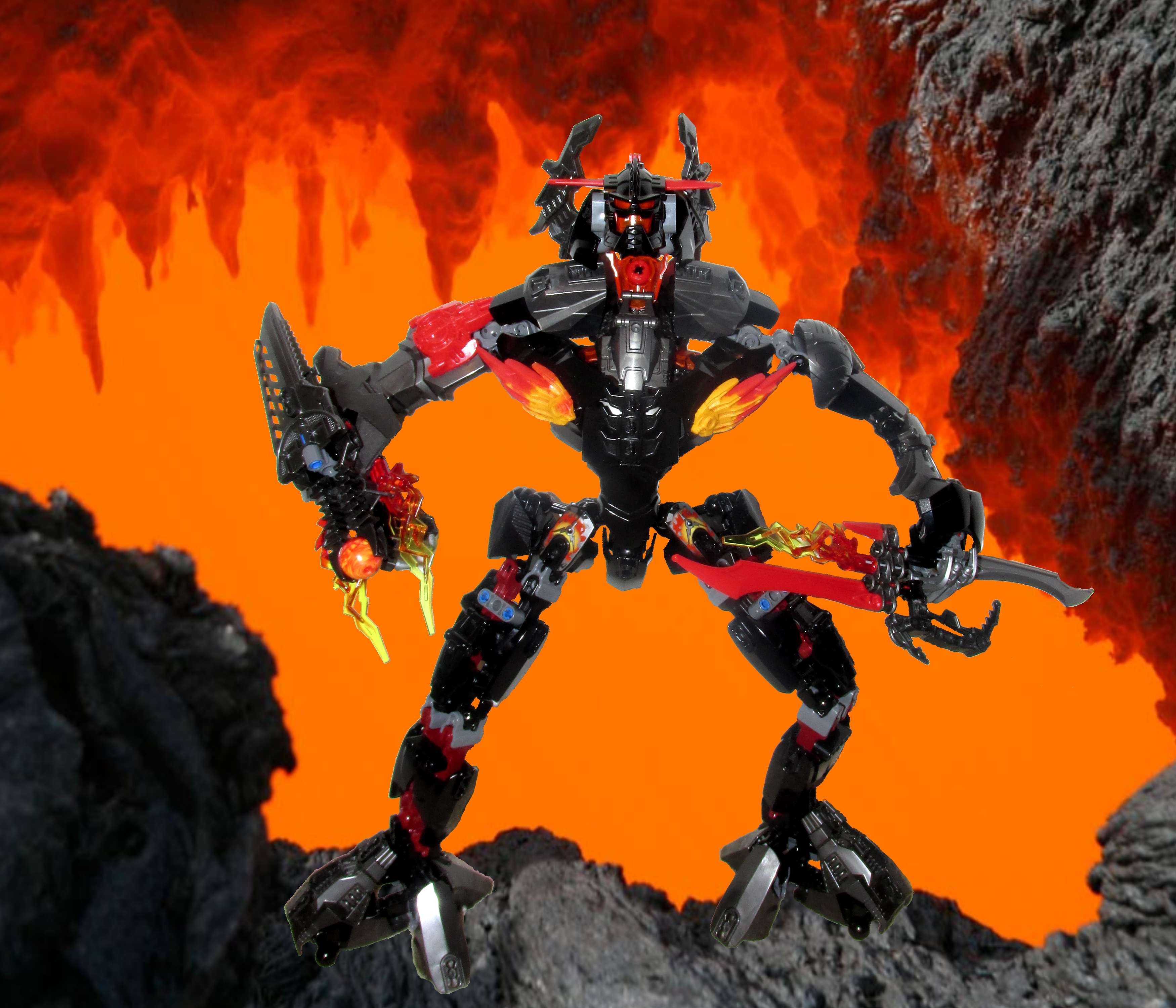 Zigben photoshopped over a volcanic background